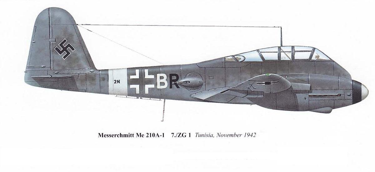 Messerschmitt Me 410A1 Hornisse 7.KG1 (2N+BR) Tunisia Sicily 1943 01