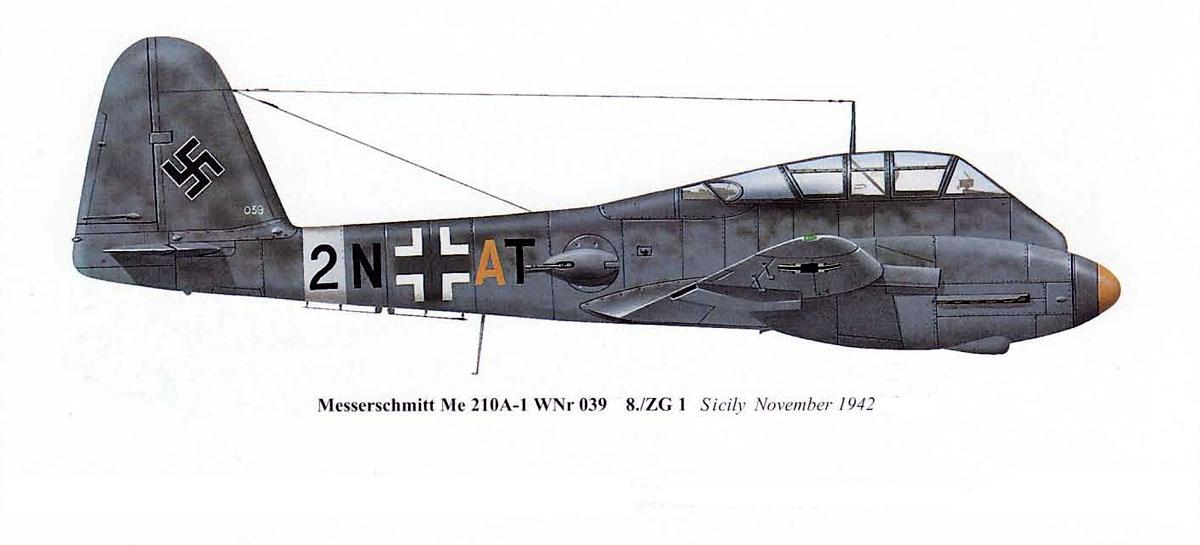 Messerschmitt Me 410A1 Hornisse 9.KG1 (2N+AT) Sicily 1942 0A