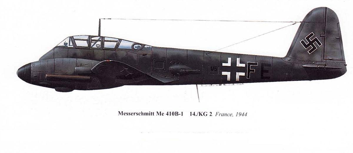Messerschmitt Me 410B Hornisse 14.KG2 (U5+FE) Abrahamczik France 1944 0B