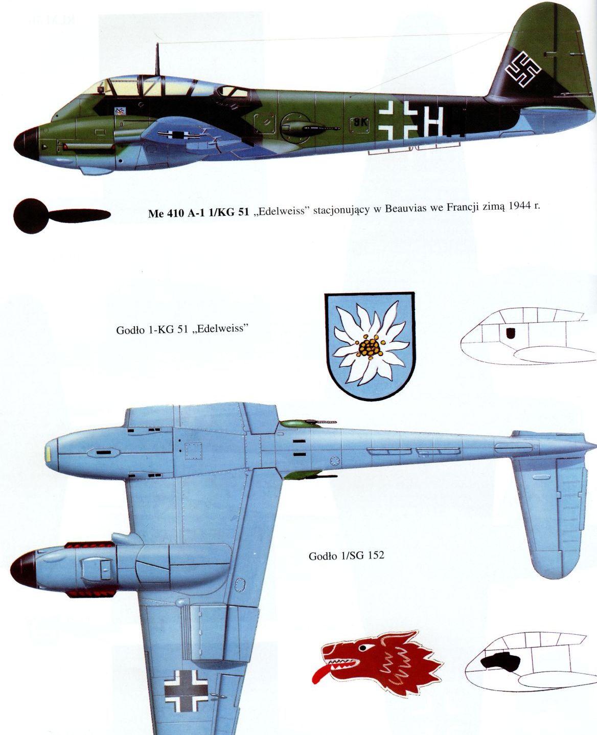 Messerschmitt Me 410A Hornisse 1.KG51 (8K+HH) France 1944 0B