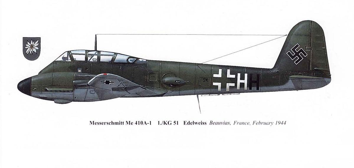 Messerschmitt Me 410A1 Hornisse 1.KG51 (9K+HH) Beauvias France 1944 0B