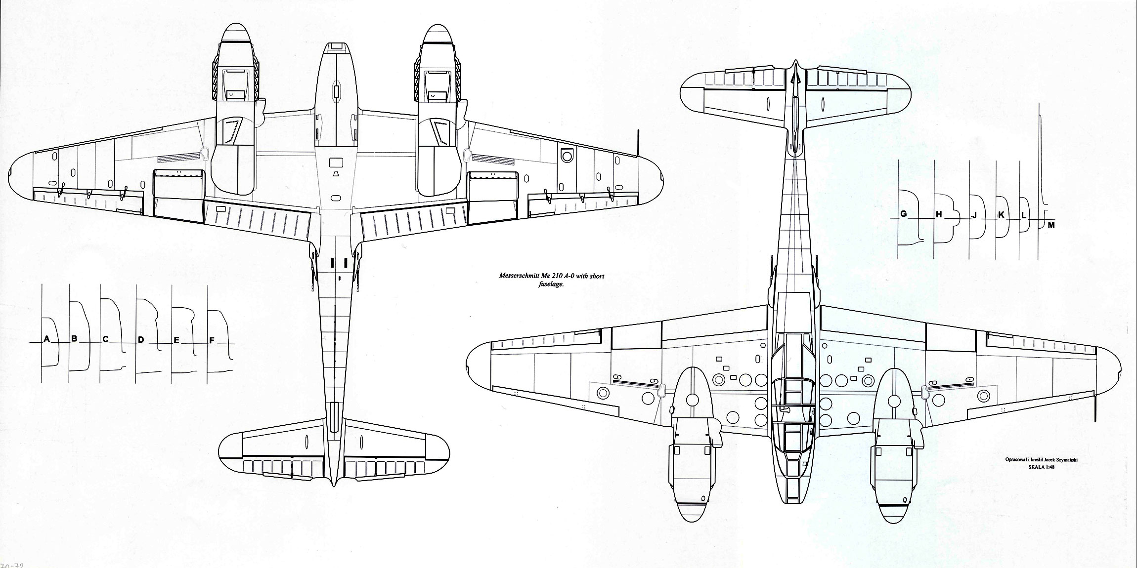 Messerschmitt Me 410A0 Hornisse 1 72 scale Line drawing 03