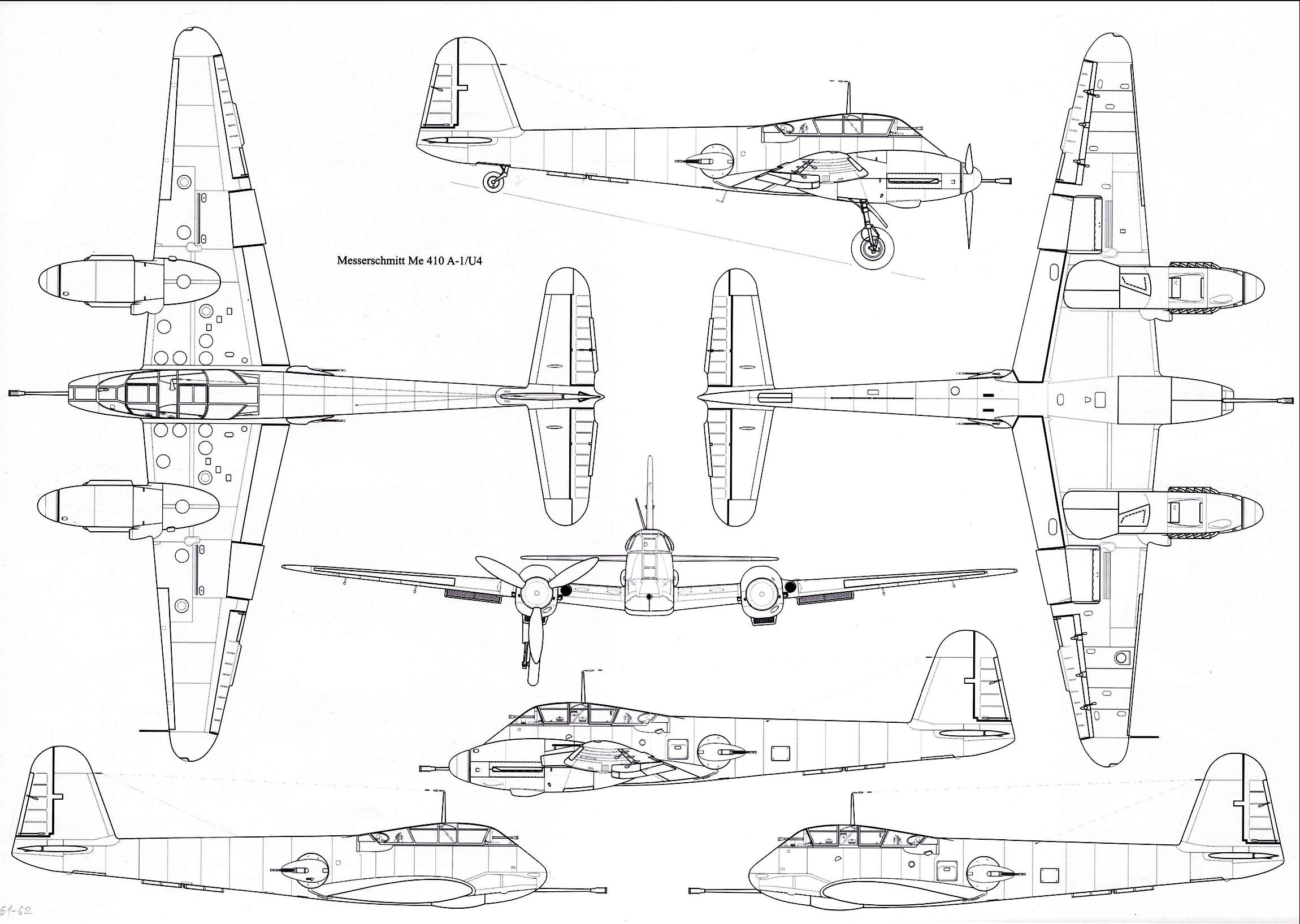 Messerschmitt Me 410A1 Hornisse 1 72 scale Line drawing 01