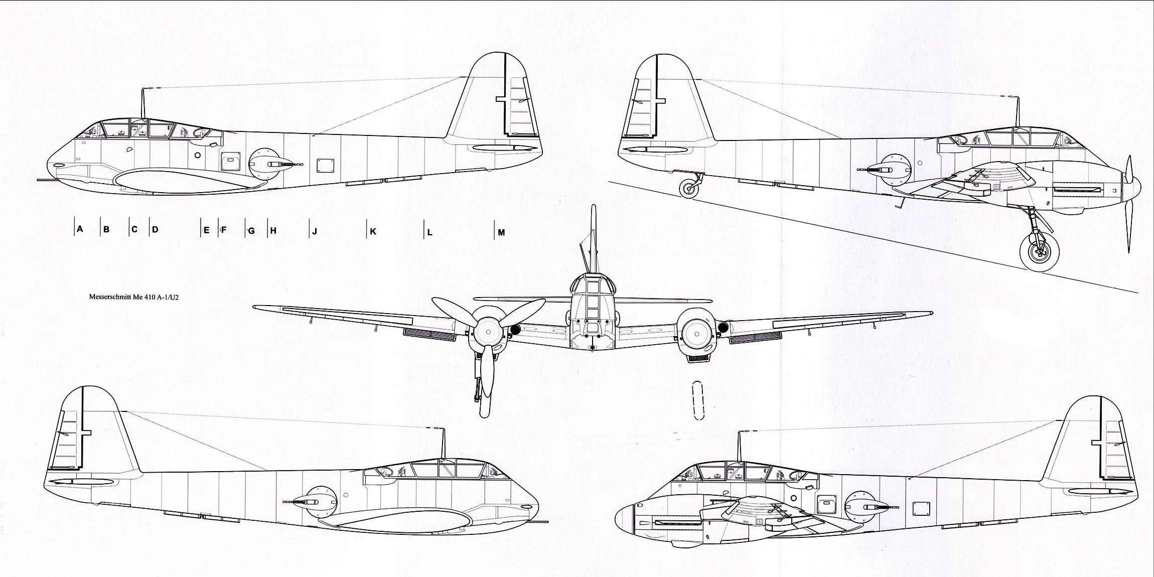 Messerschmitt Me 410A1 Hornisse 1 72 scale Line drawing 02