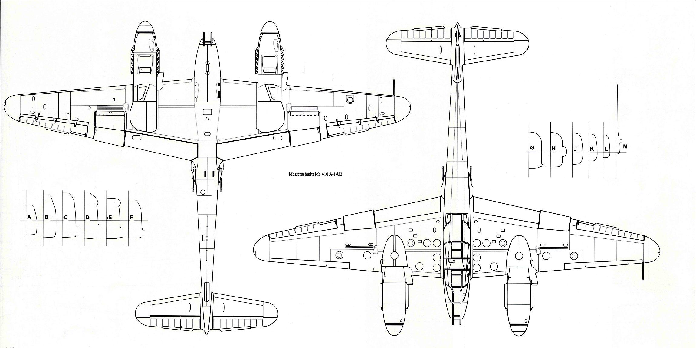 Messerschmitt Me 410A1 Hornisse 1 72 scale Line drawing 03