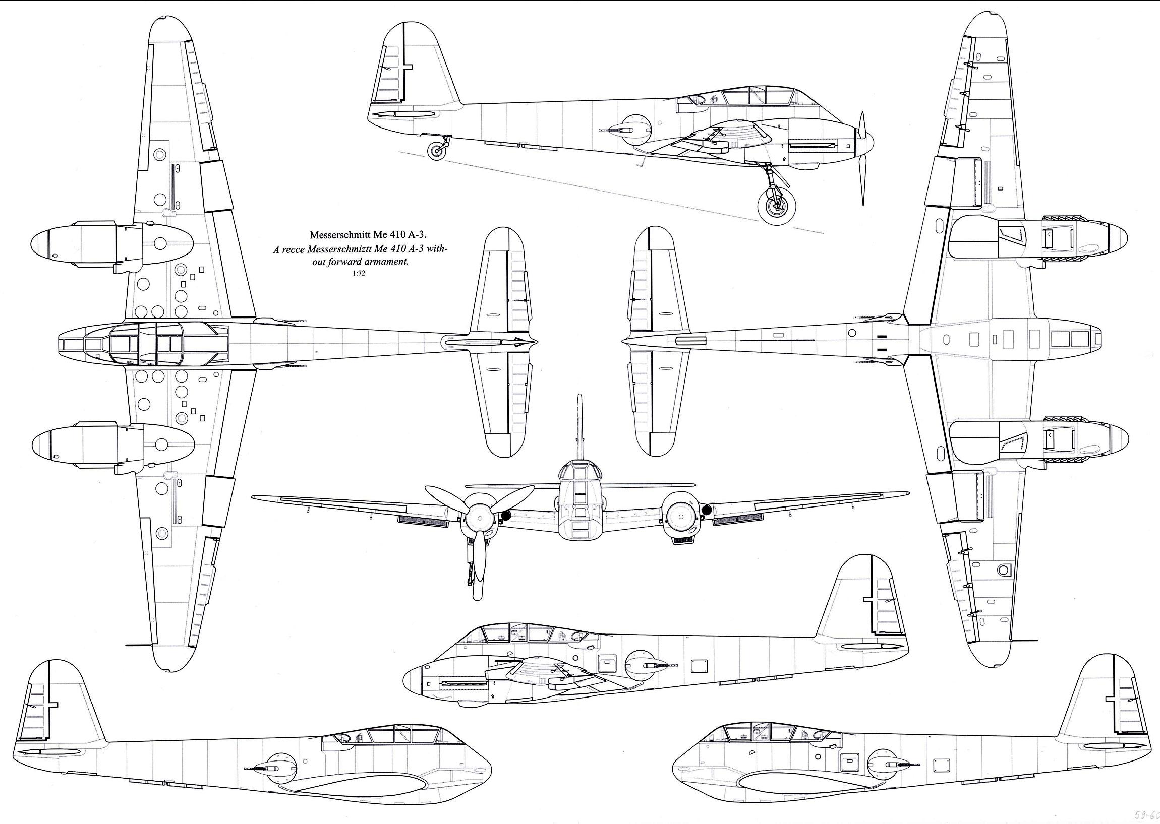Messerschmitt Me 410A3 Hornisse 1 72 scale Line drawing 01
