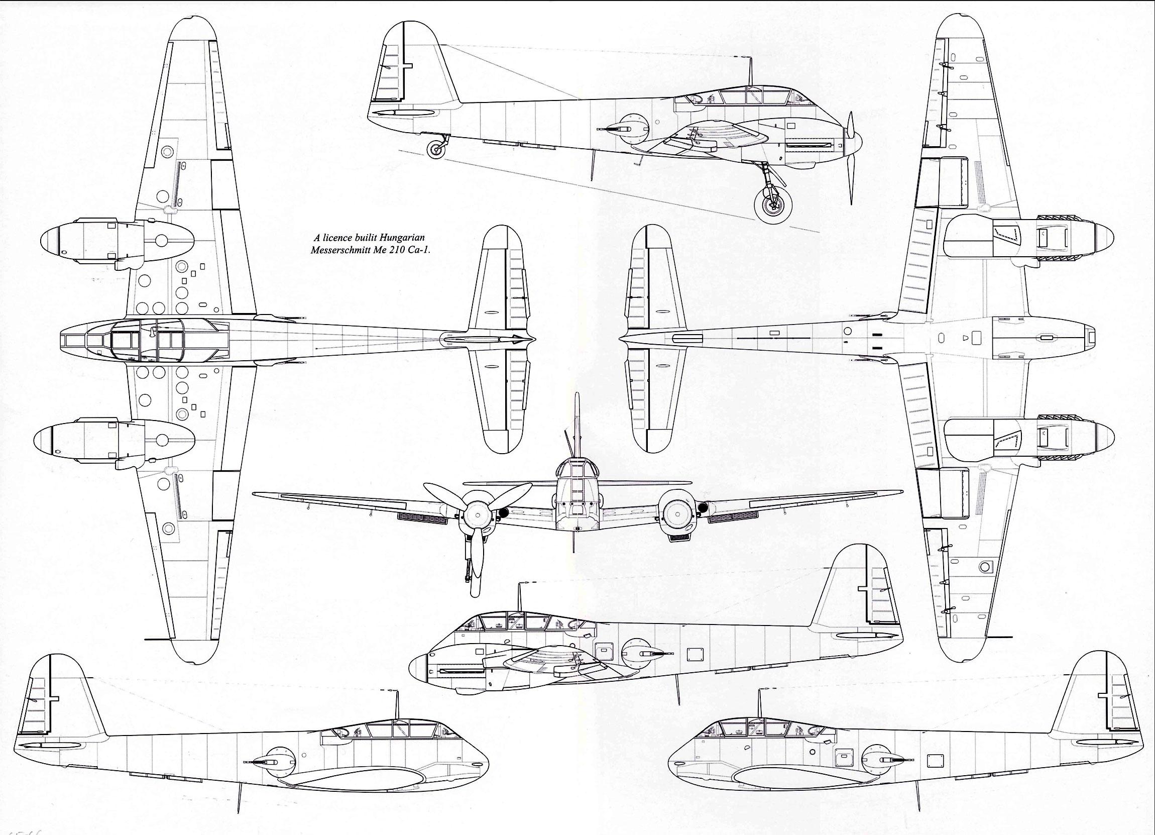 Messerschmitt Me 410C1 Hornisse 1 72 scale Line drawing 01