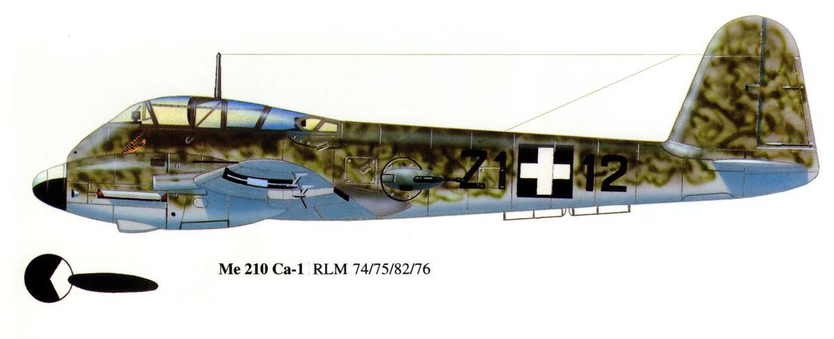Messerschmitt Me 210C Hornet RHAF 102.2 (Z1+12) Hungary 1944 0A