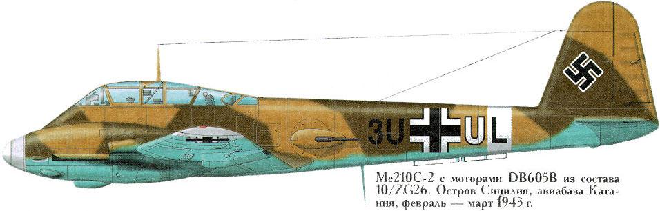 Messerschmitt Me 210C Hornet 3.ZG26 (3U+UL) Sicily 1943 0A