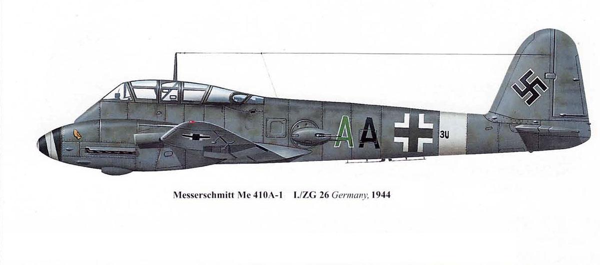 Messerschmitt Me 410A1 Hornisse Geschwader Stab ZG26 (3U+AA) Germany 1944 0A