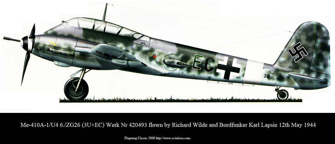 Messerschmitt Me 410A1U4 6.ZG26 (3U+EC) WNr 420493 Richard Wilde Karl Lapsie 12th May 1944 0A