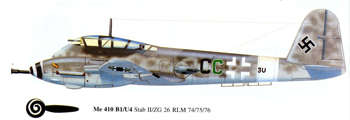 Messerschmitt Me 410B Hornisse Stab II.ZG26 (3U+CC) Germany 1944 0B