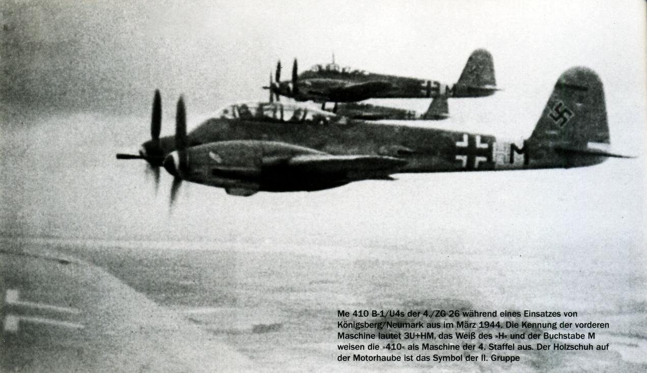 Messerschmitt Me 410B1 Hornisse 4.ZG26 (3U+HM) in formation Konigsberg Mar 1944 01
