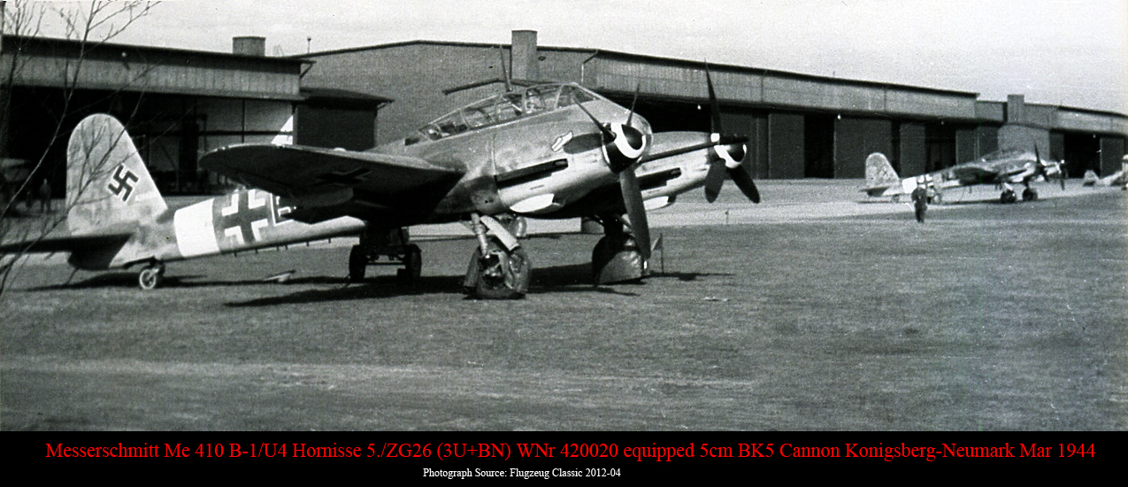 Messerschmitt Me 410B1 Hornisse 5.ZG26 (3U+BN) WNr 420020 5cm BK5 Cannon Konigsberg Neumark 1944 01