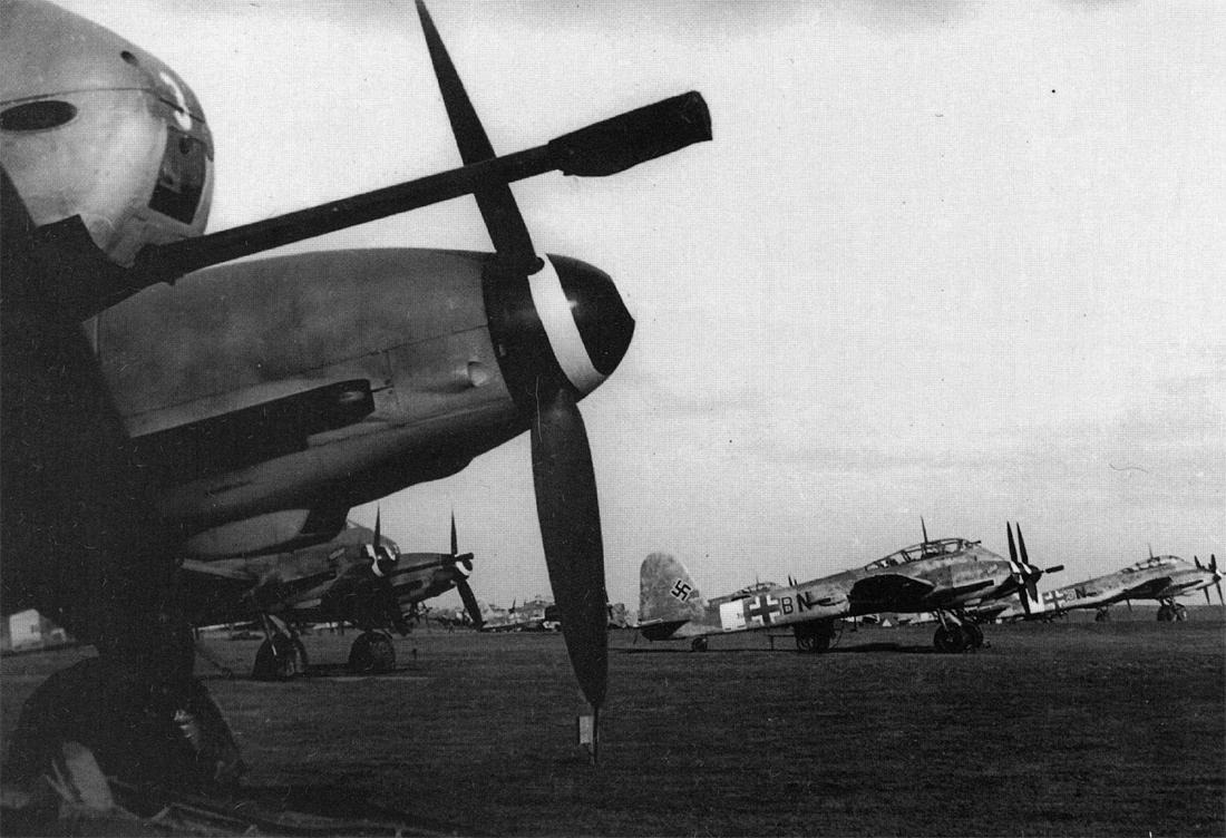 Messerschmitt Me 410B1 Hornisse 5.ZG26 (3U+BN) equipped 5cm BK5 Cannon Konigsberg Neumark 1944 01