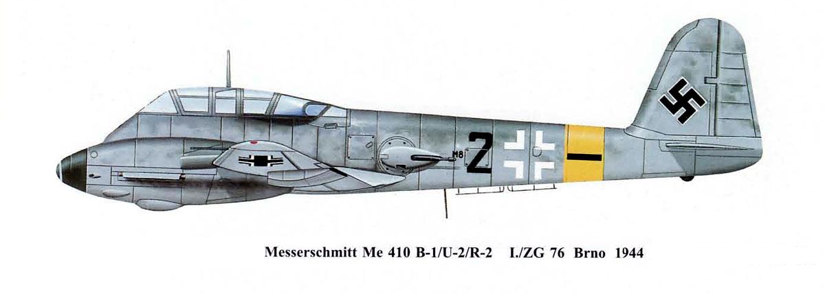 Messerschmitt Me 410B1 Hornisse 5.ZG76 (Black 2+ ) Brno AF Czechoslovakia 1944 0B