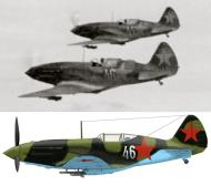 Asisbiz Mikoyan Gurevich MiG 3 6IAD White 46 and 44 in formation over Moscow spring 1942 01