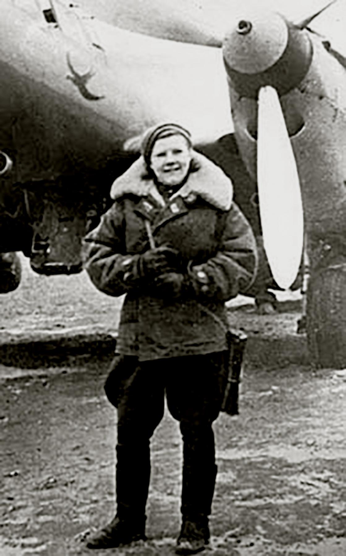Aircrew Soviet 125GvBAP SnrLt Elena Malyutina infront of Fedotova,Dubkova and Khokhlova aircraft 1945 01