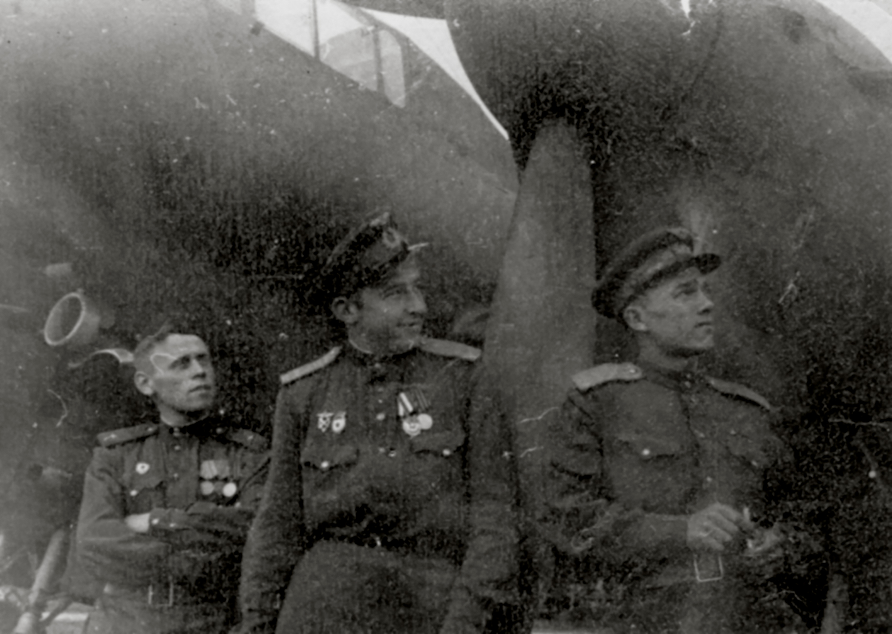 Aircrew Soviet 127GvBAP with Nikolai A Shchichko (center) with colleagues Stalingrad front 01