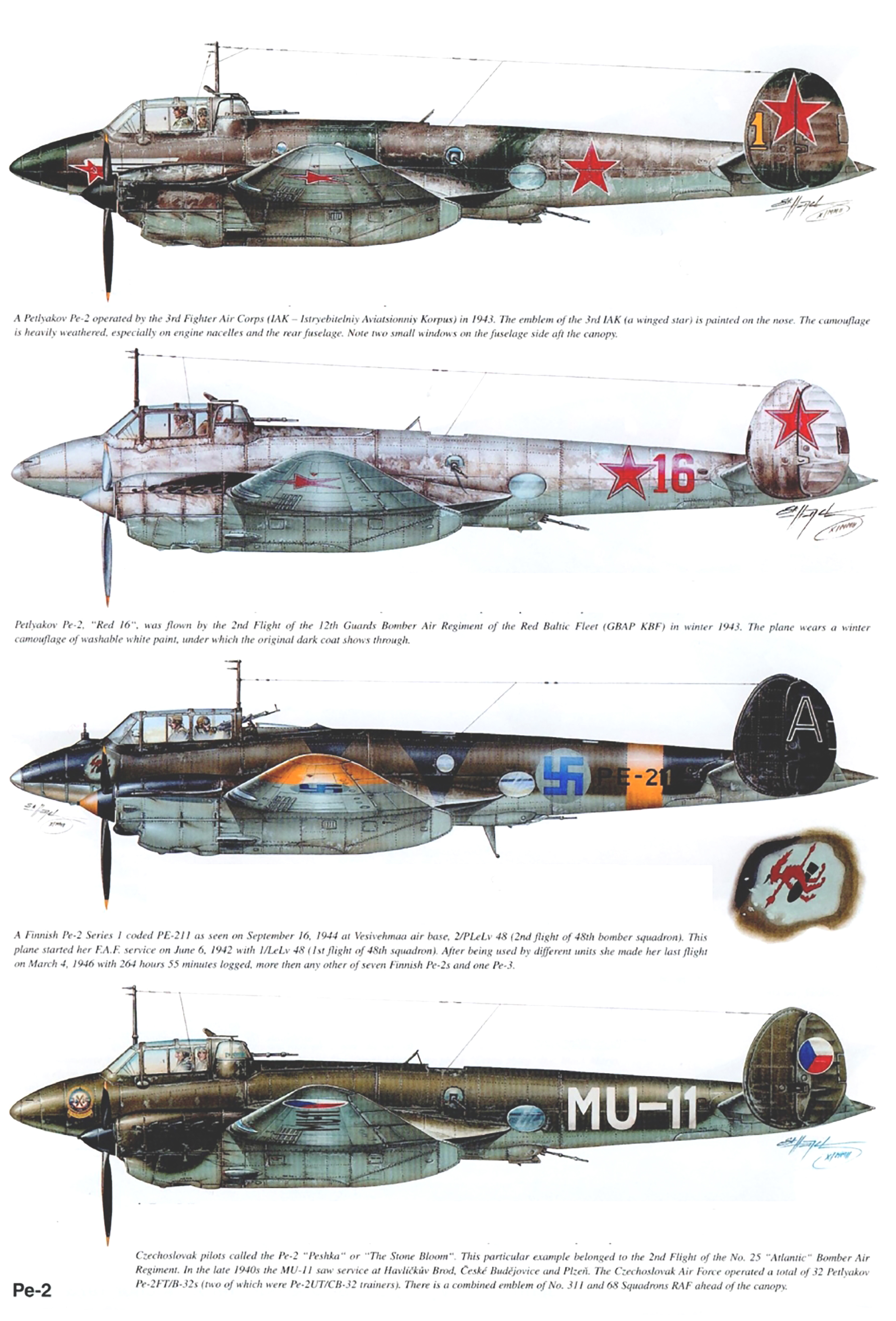 Aviation magazine profiles of Petlyakov Pe 2 0A