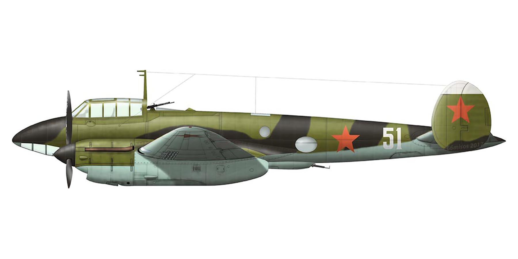 Petlyakov Pe 2 type 1 29BAP Northern Fleet White 51 1944 0A