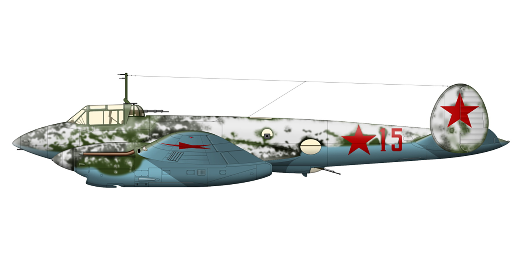 Petlyakov Pe 2 type 110 with 73PBAP Baltic Fleet Red 15 in winter camouflage 1942 0A