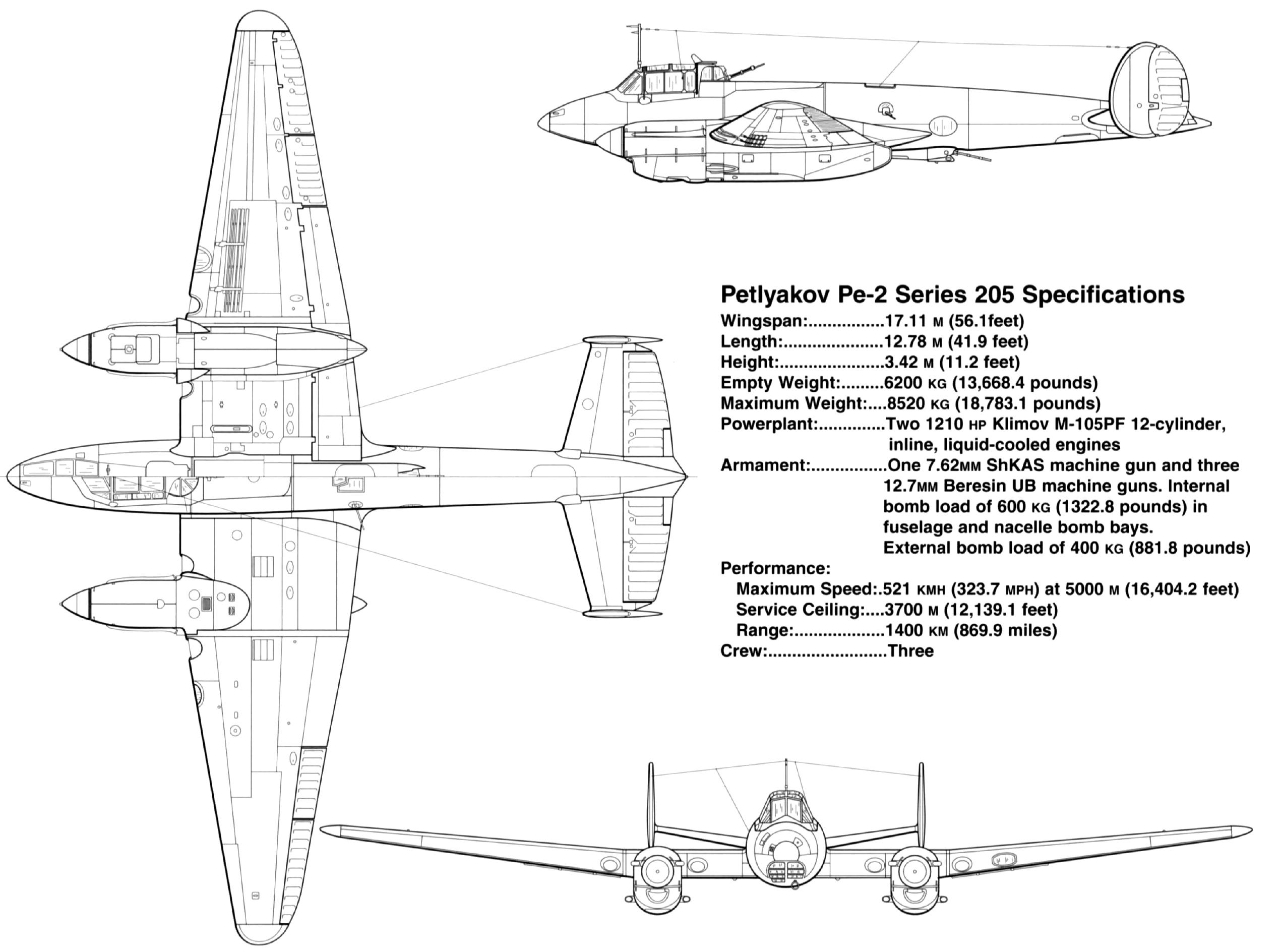 Petlyakov Pe 2 type 205 specifications profiles by Signal Petlyakov Pe 2 SS1181 page P28