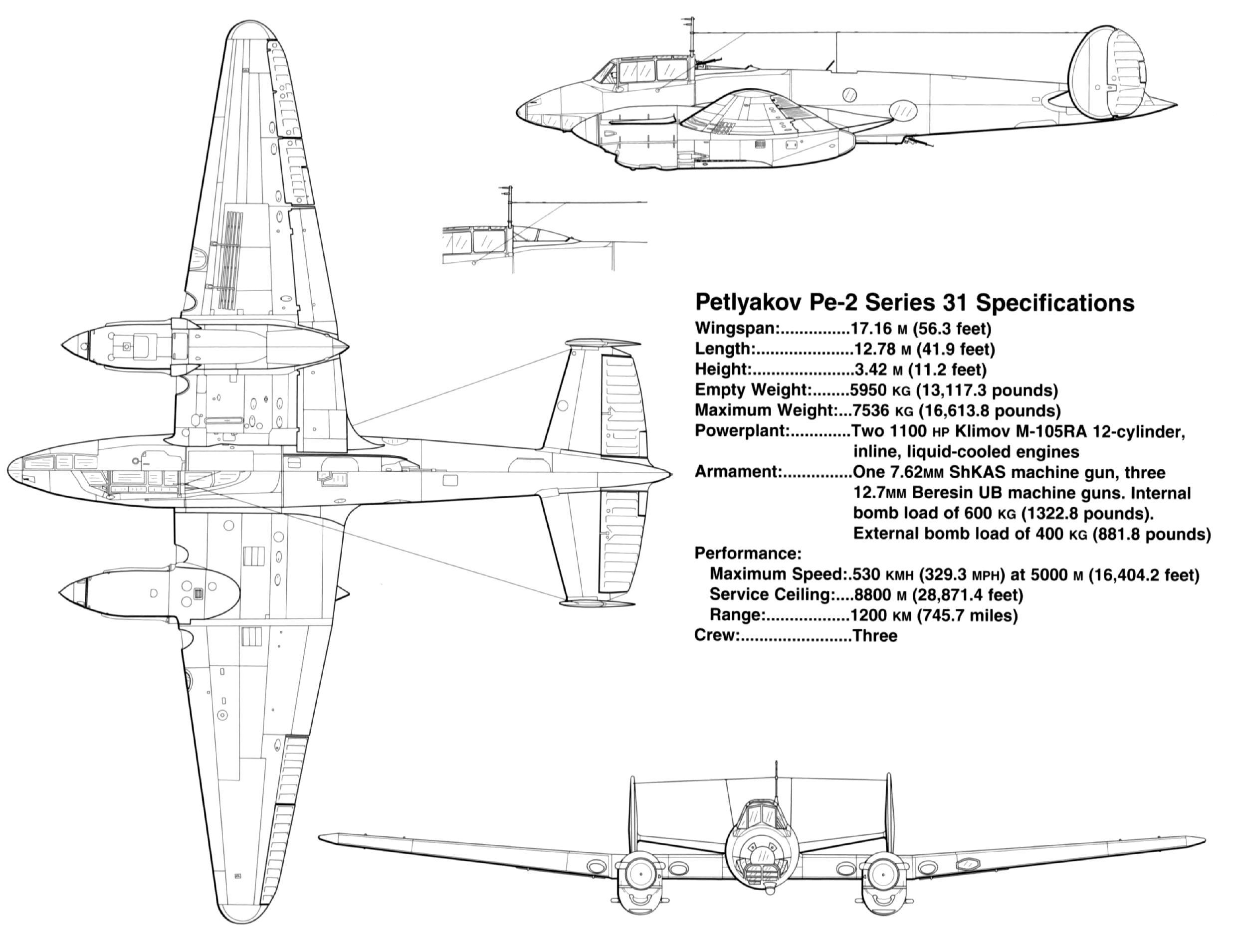 Petlyakov Pe 2 type 31 specifications profiles by Signal Petlyakov Pe 2 SS1181 page P12