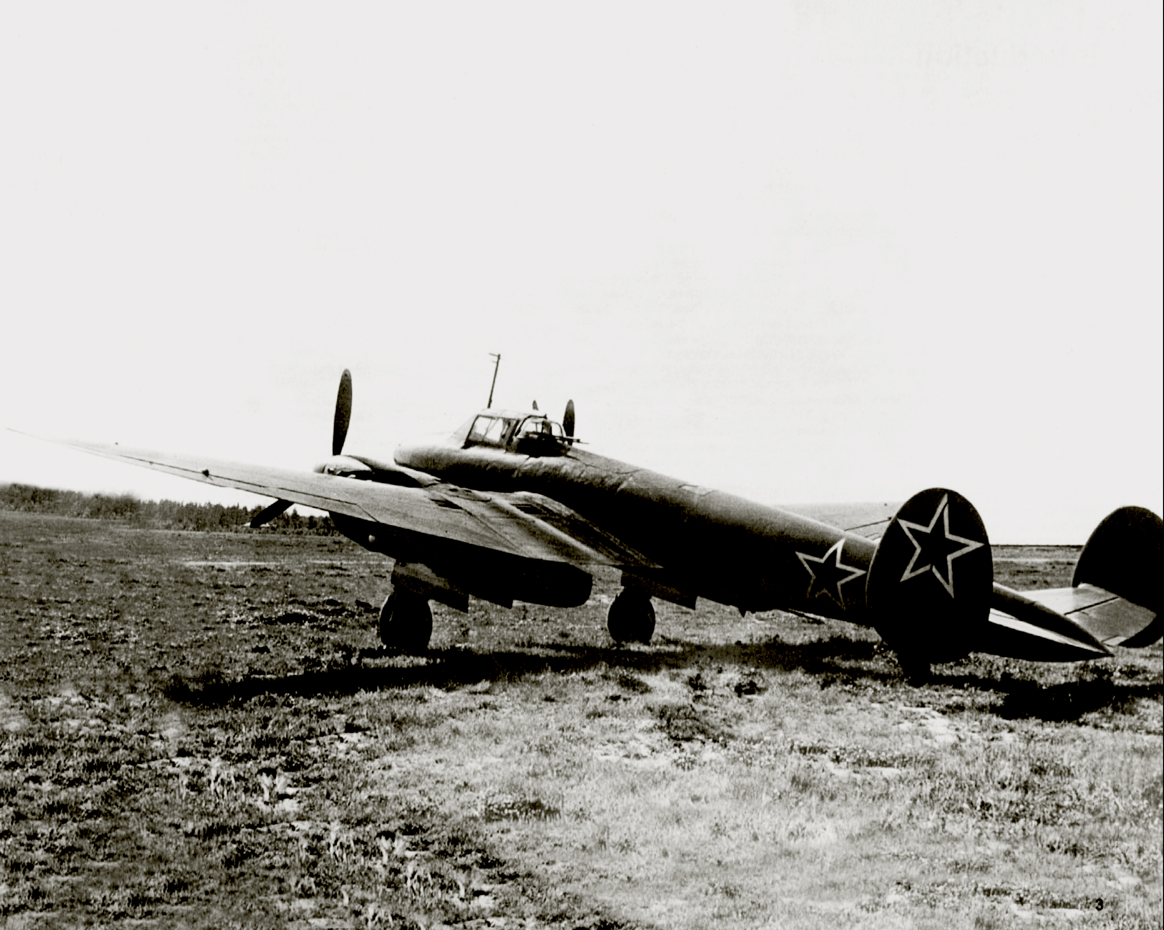 Petlyakov Pe 2 type 359 parked on a forward Soviet airfield Eastern Front 1944 0A