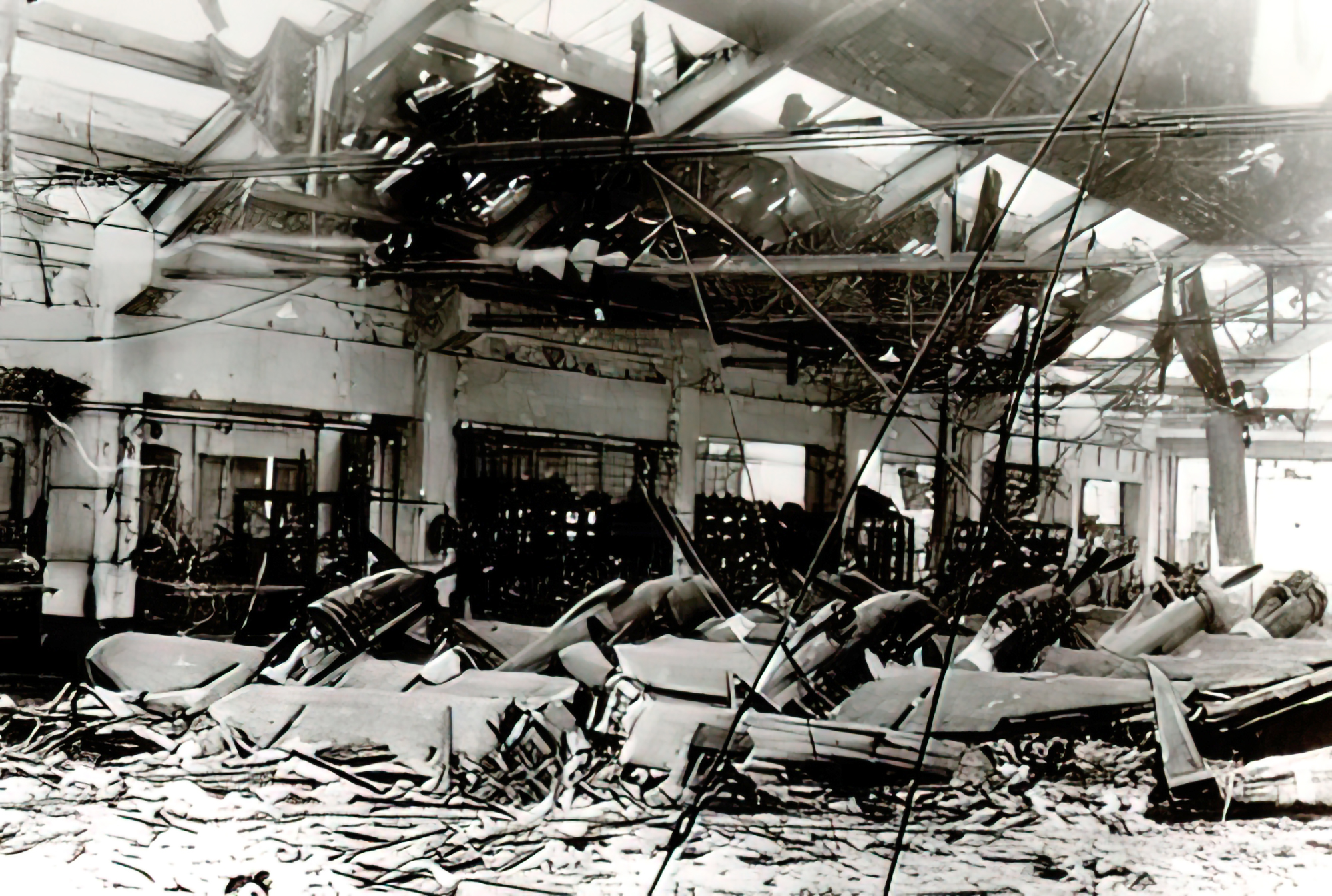 Reggiane plant assembly line destroyed by allied bombing Reggio Emilia Italy 8th Jan 1944 01