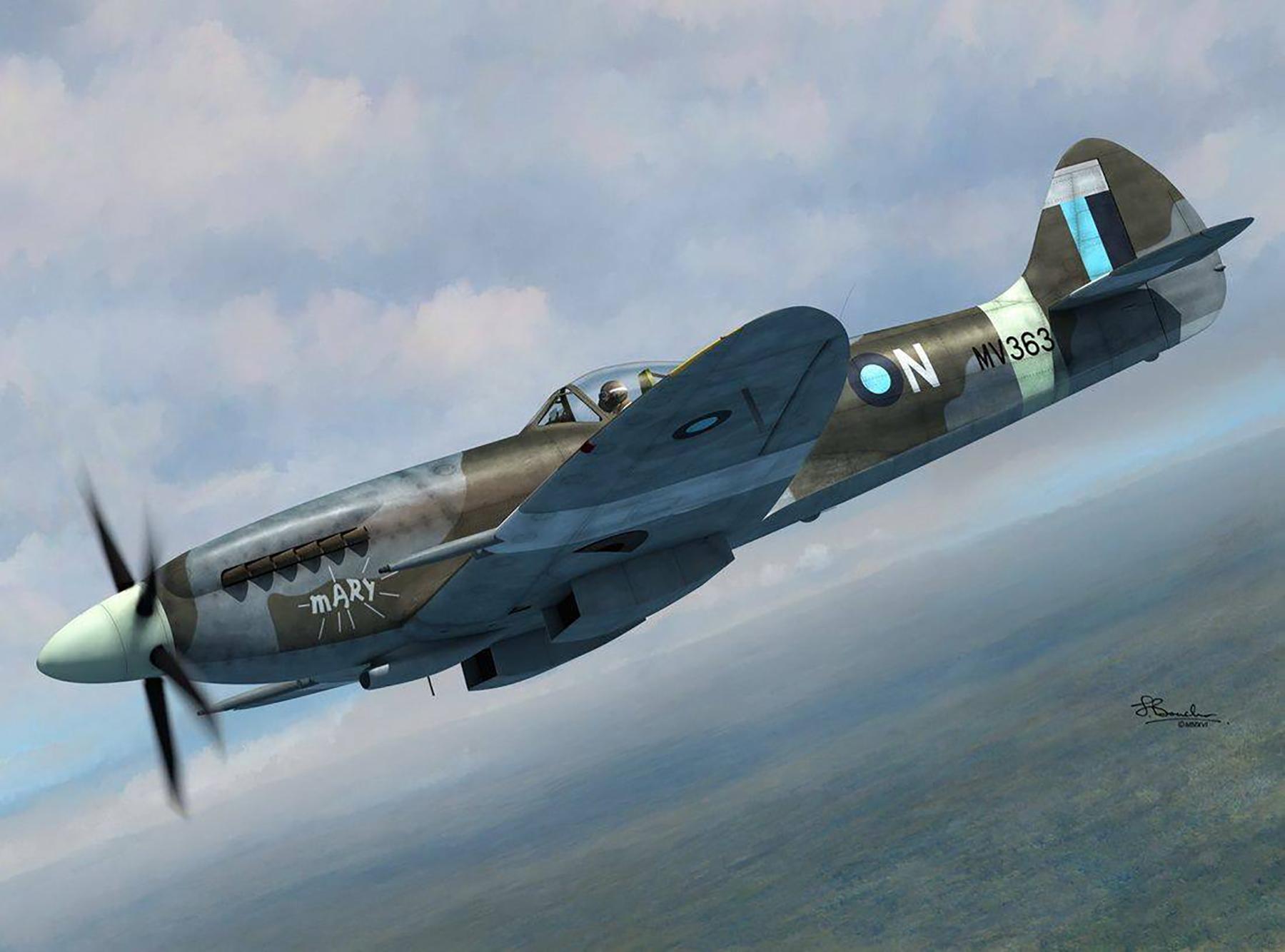 Spitfire FRXIVe RAF 11Sqn Mary MV363 by Jerry Boucher Art 0A