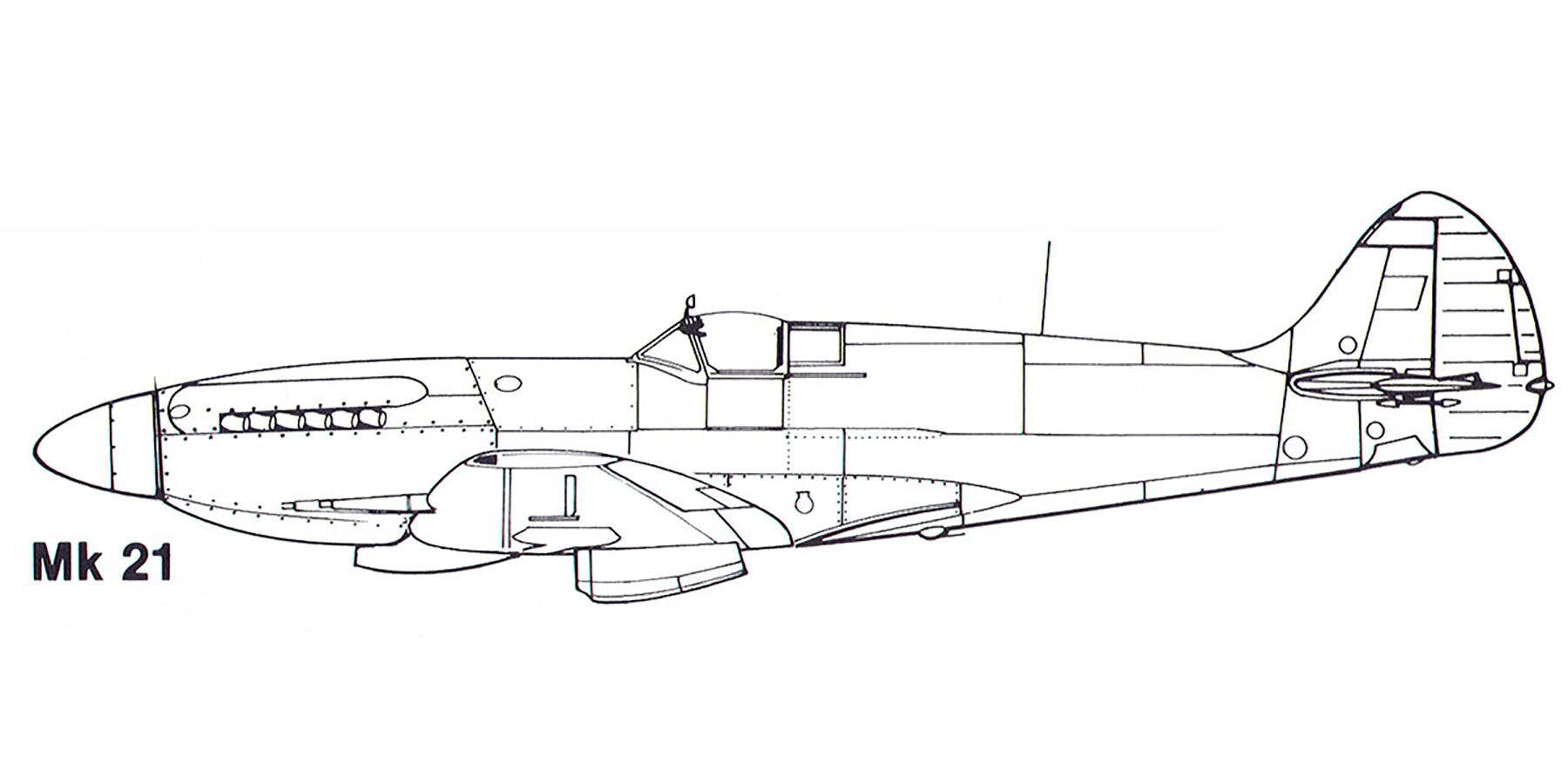 Aircraft profile Spitfire Mk21 blue print scale drawing 0A