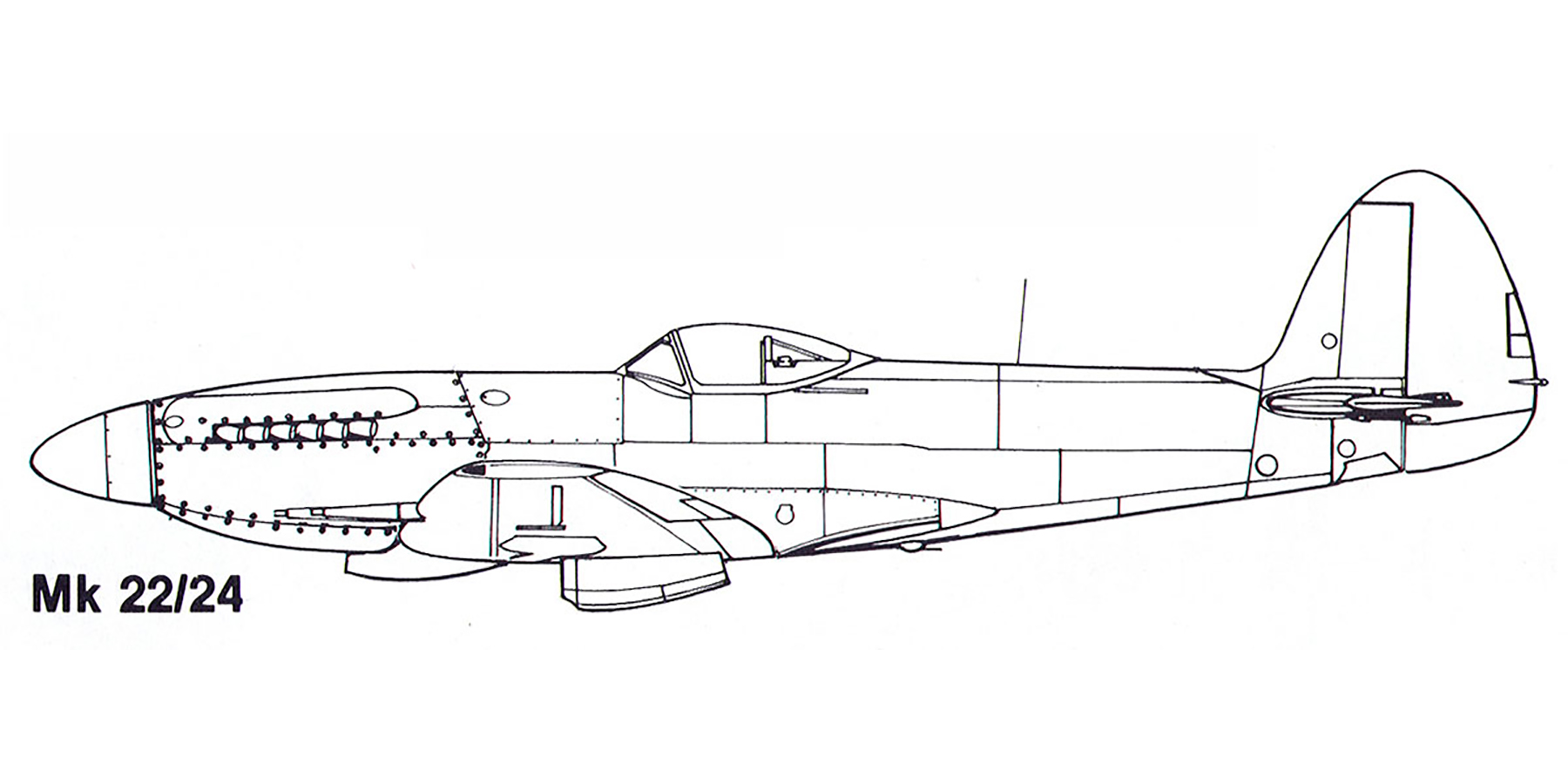 Aircraft profile Spitfire Mk22 24 blue print scale drawing 0A
