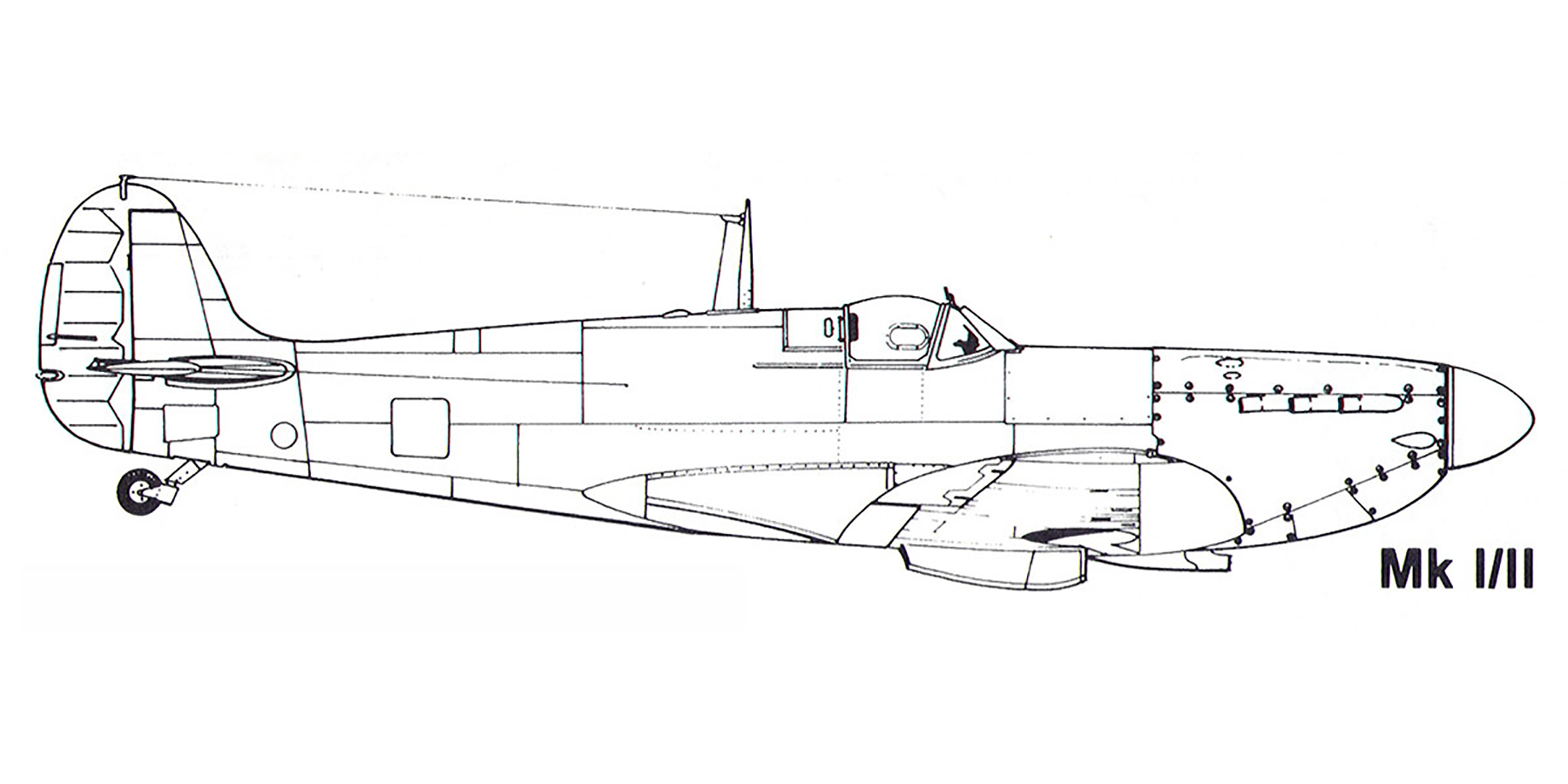 Aircraft profile Spitfire MkI II blue print scale drawing 0A