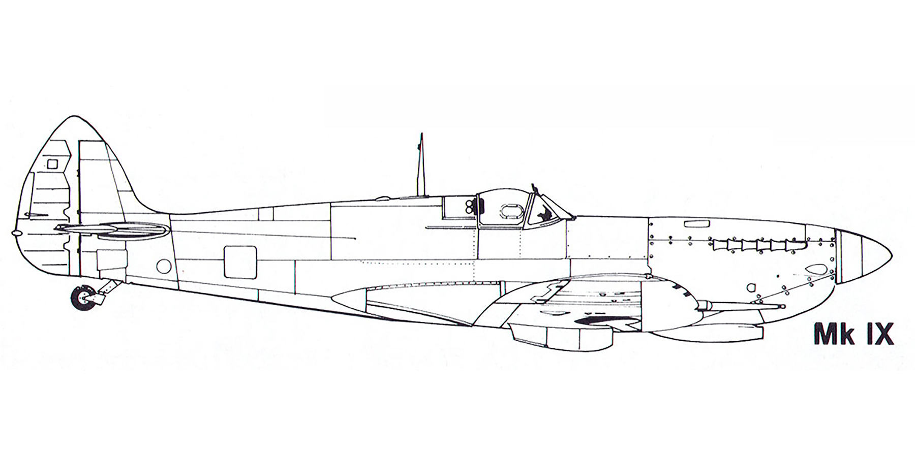 Aircraft profile Spitfire MkIX blue print scale drawing 0A