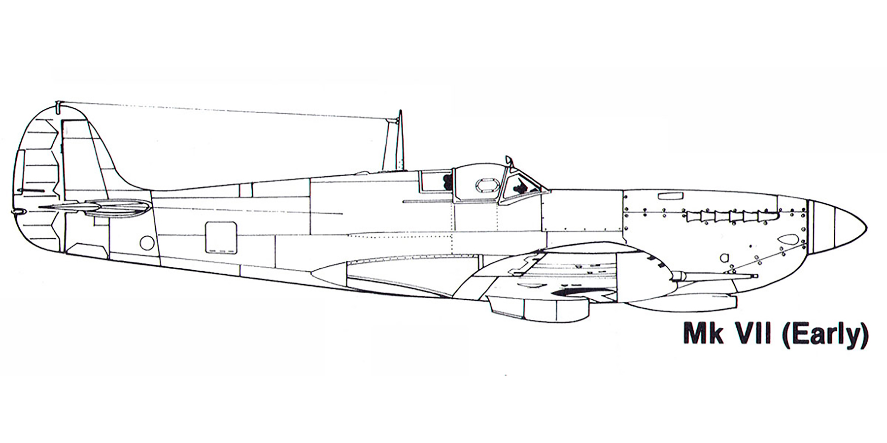 Aircraft profile Spitfire MkVII early blue print scale drawing 0A