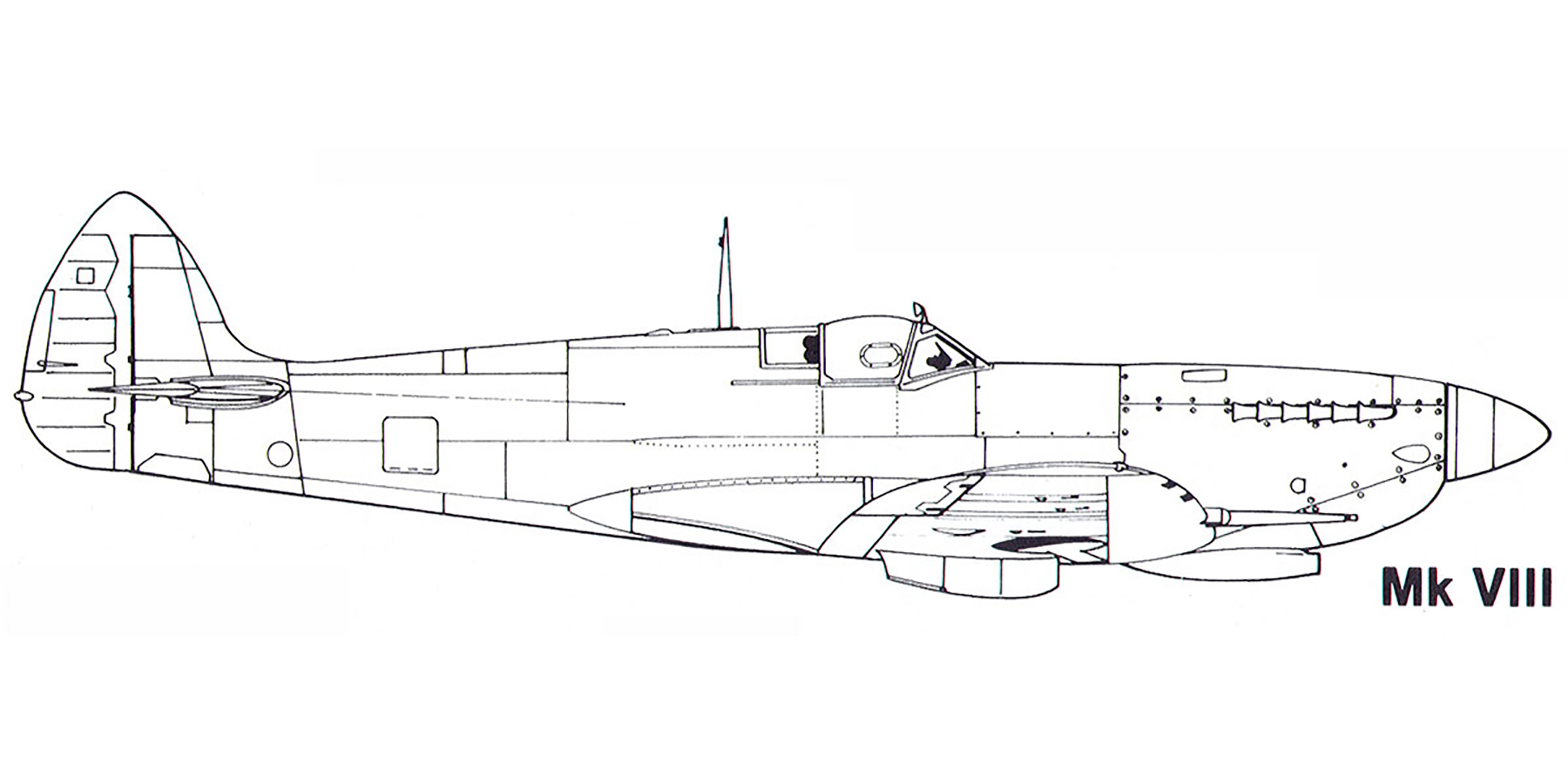 Aircraft profile Spitfire MkVIII blue print scale drawing 0A