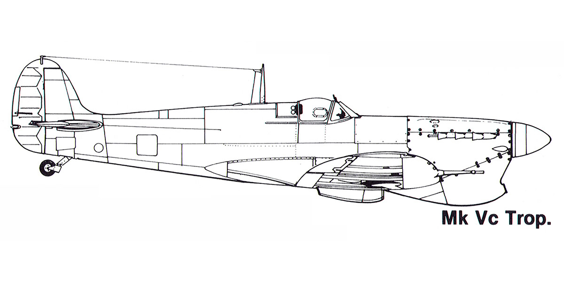 Aircraft profile Spitfire MkVcTrop blue print scale drawing 0A