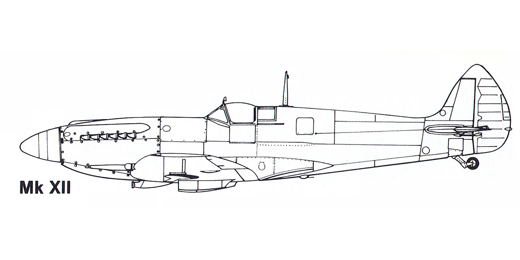 Aircraft profile Spitfire XII blue print scale drawing 0A