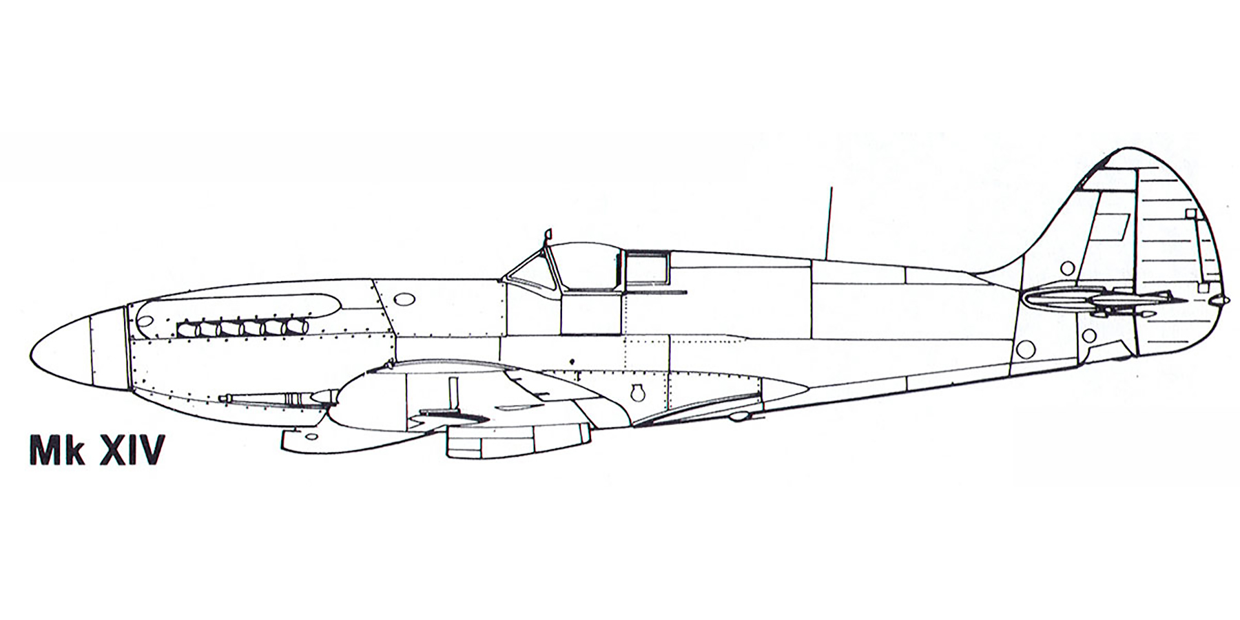 Aircraft profile Spitfire XIV blue print scale drawing 0A