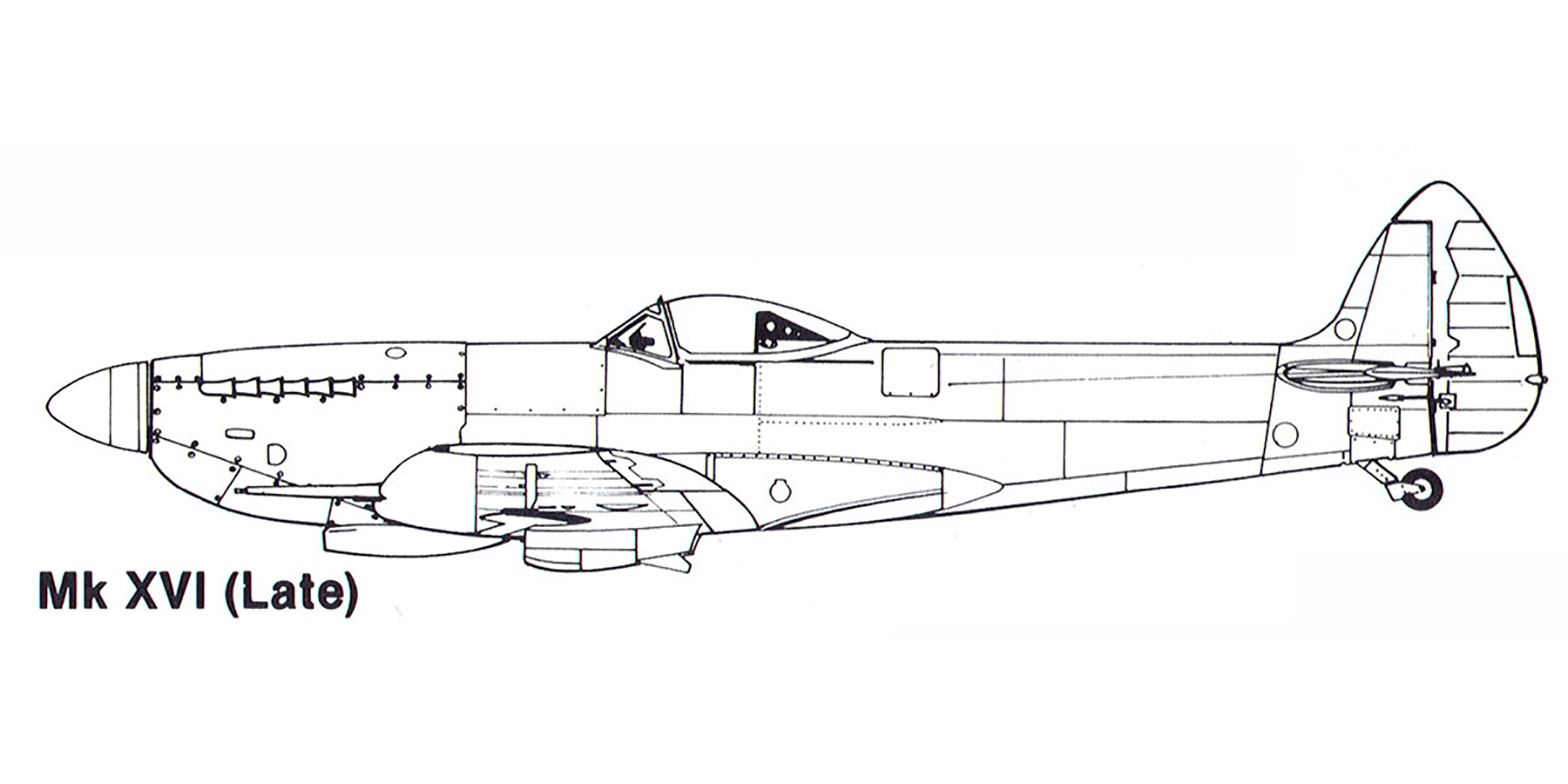 Aircraft profile Spitfire XVI late blue print scale drawing 0A