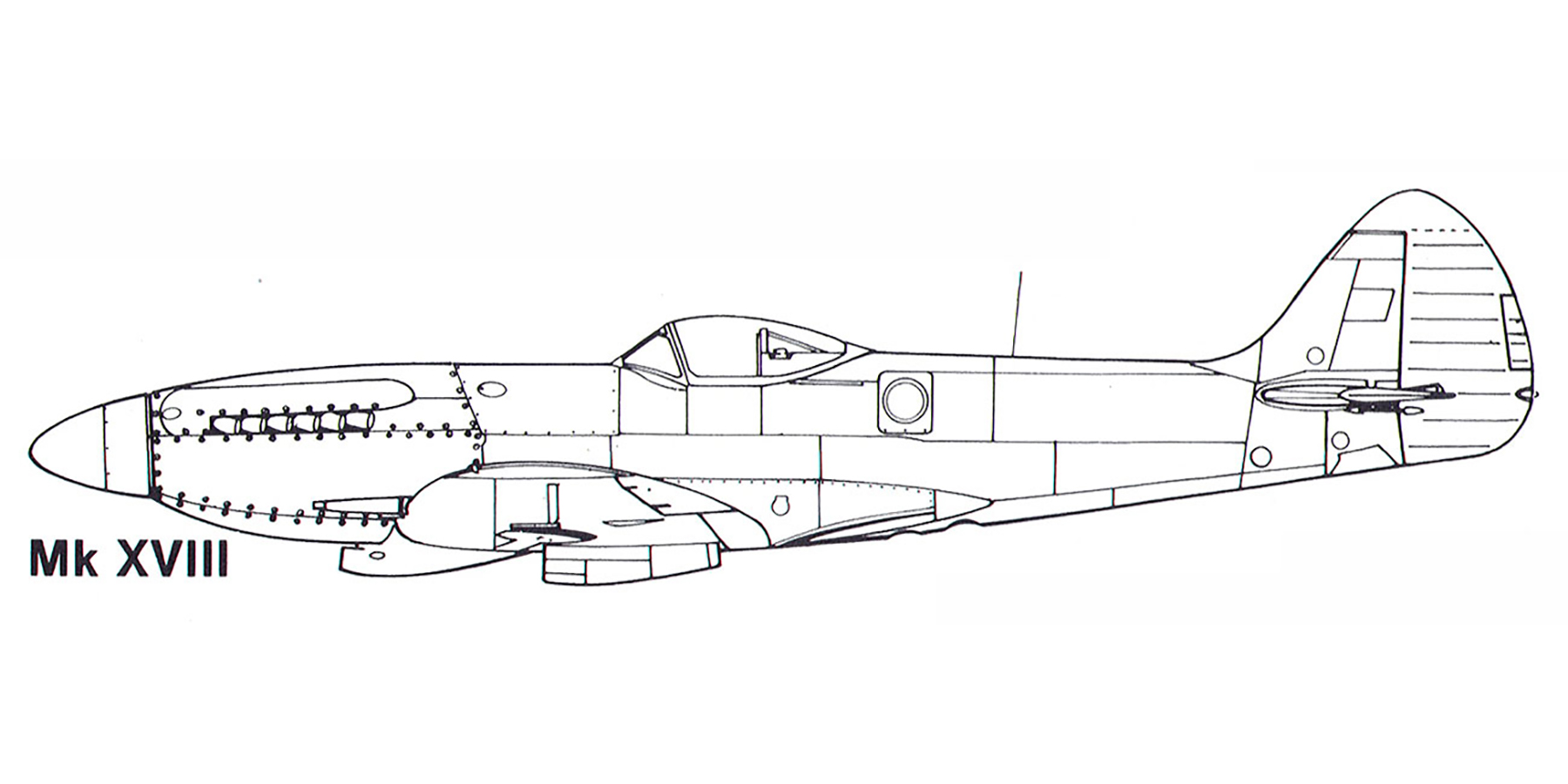 Aircraft profile Spitfire XVIII blue print scale drawing 0A