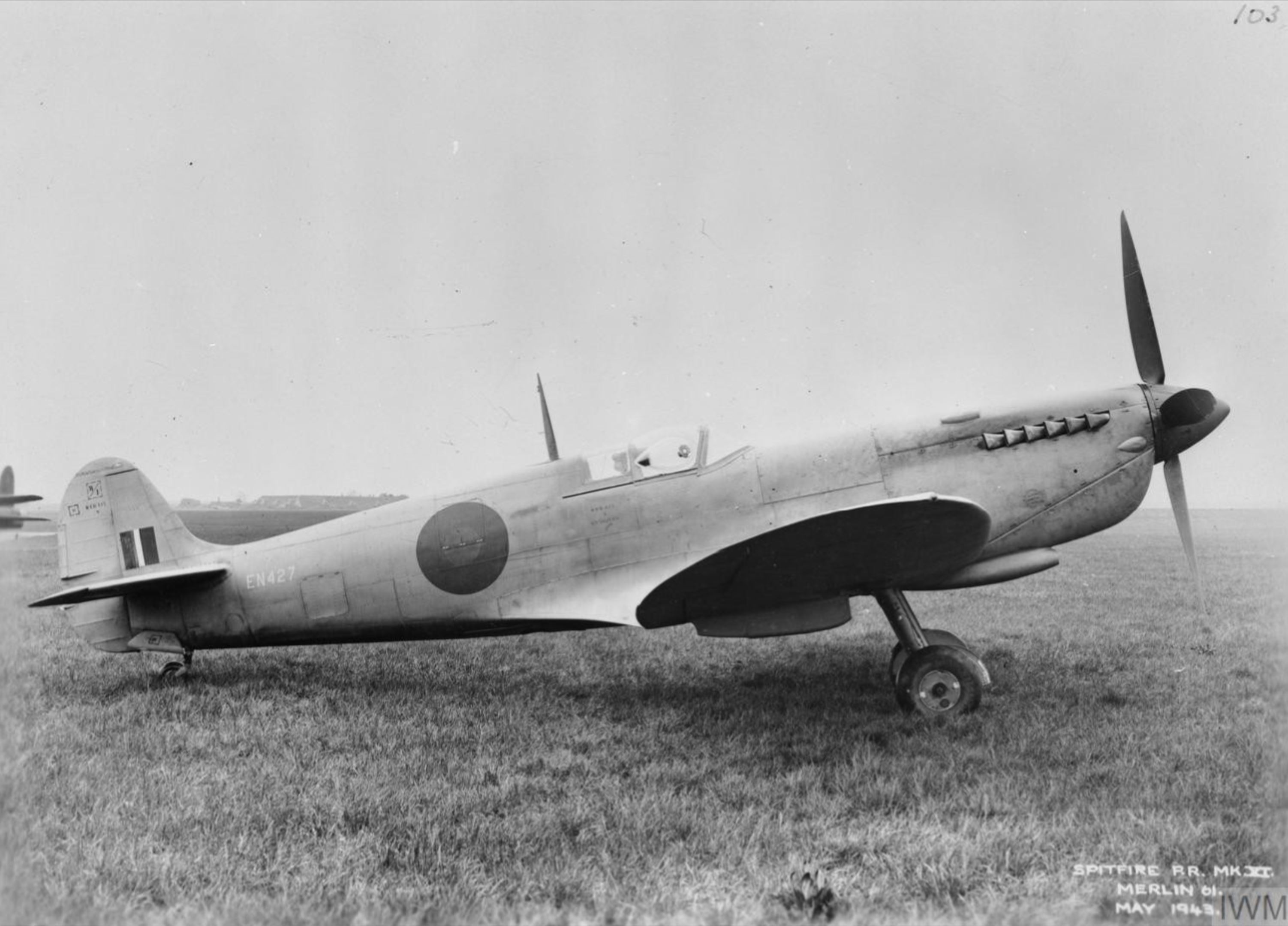 Spitfire 11 Prototype EN427 side profile view England May 1943 IWM MH5111