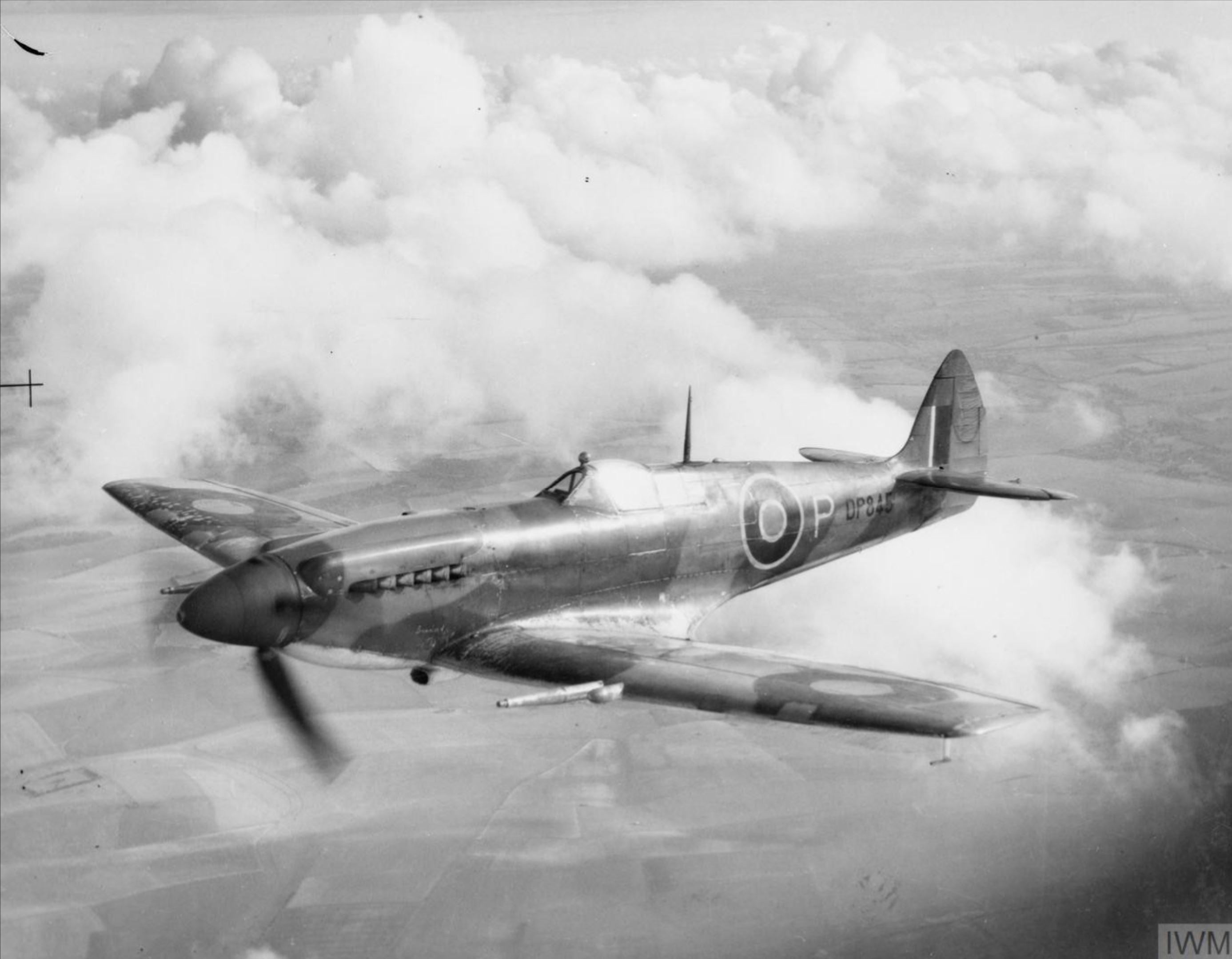 Spitfire 12 Prototype DP845 in flight England IWM HU2198