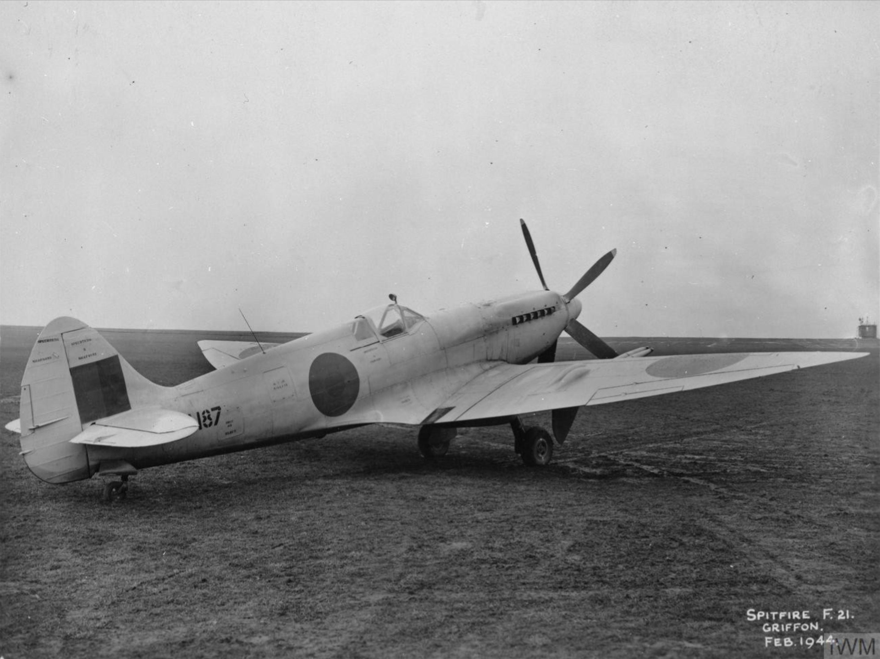 Spitfire 21 Prototype LA187 England Feb 1944 IWM MH5283