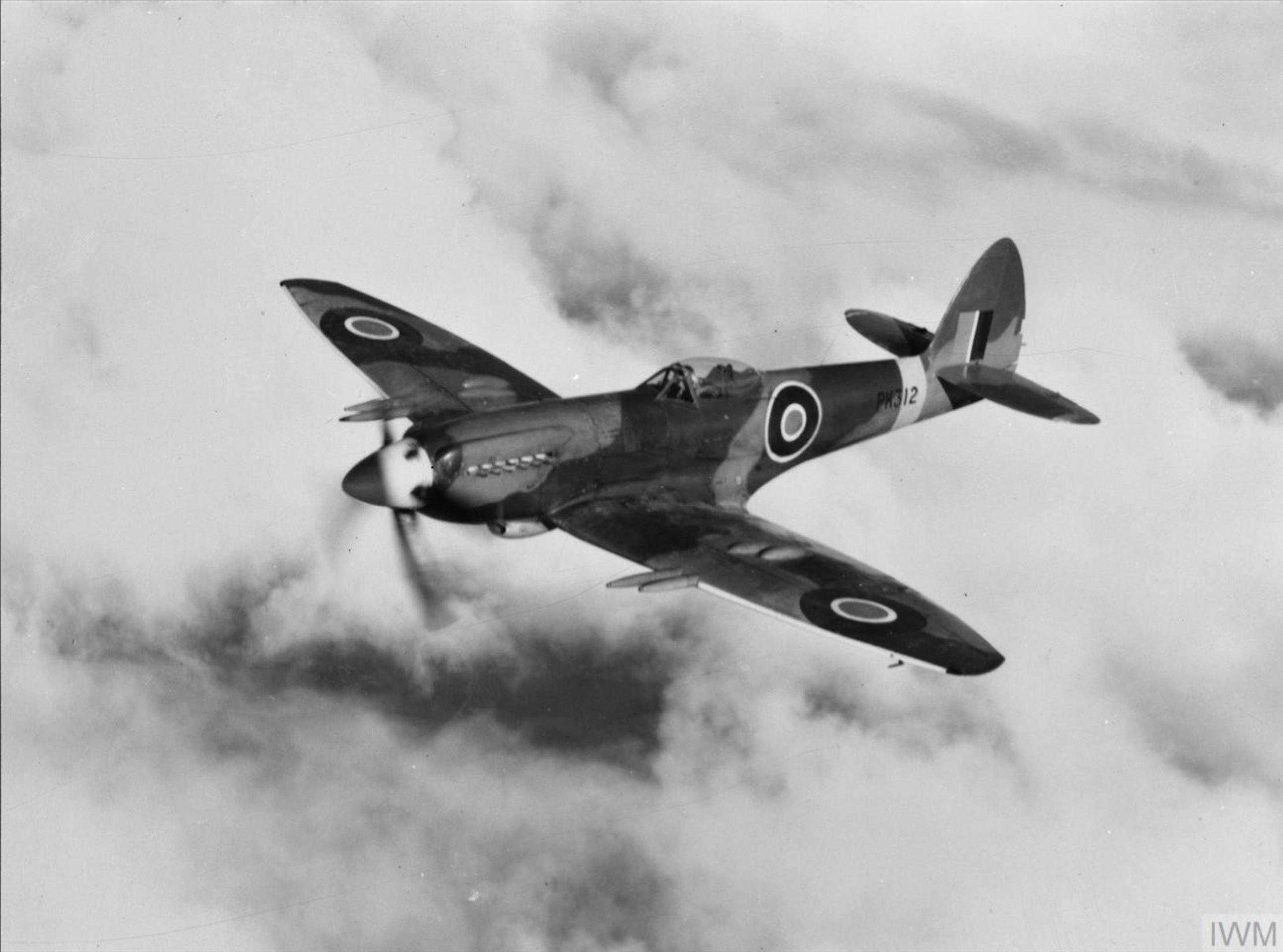 Spitfire 22 Prototype PK312 in flight England IWM HU1682