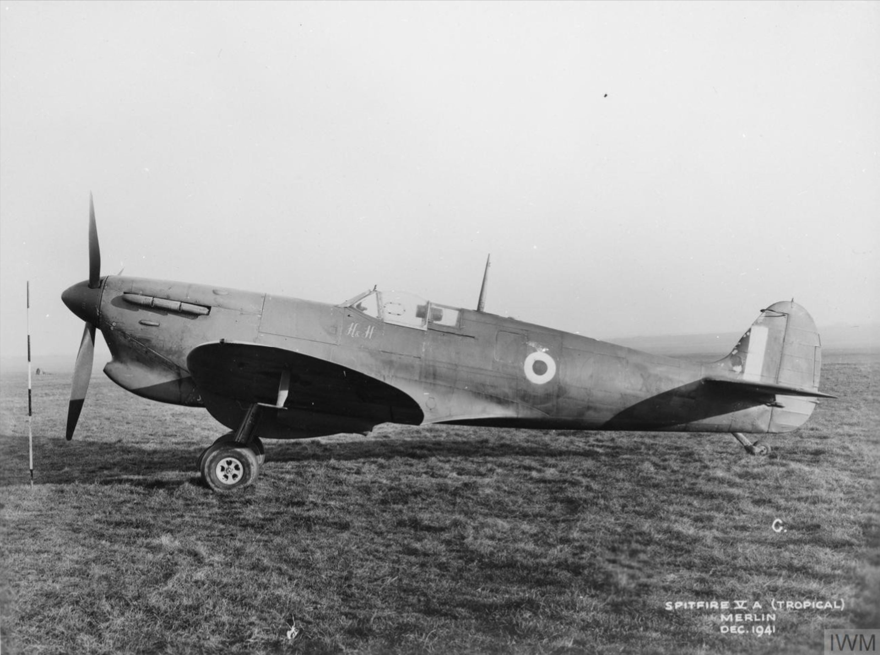 Spitfire 5a Prototype X1992 with a tropical filter England Dec 1941 IWM MH5220