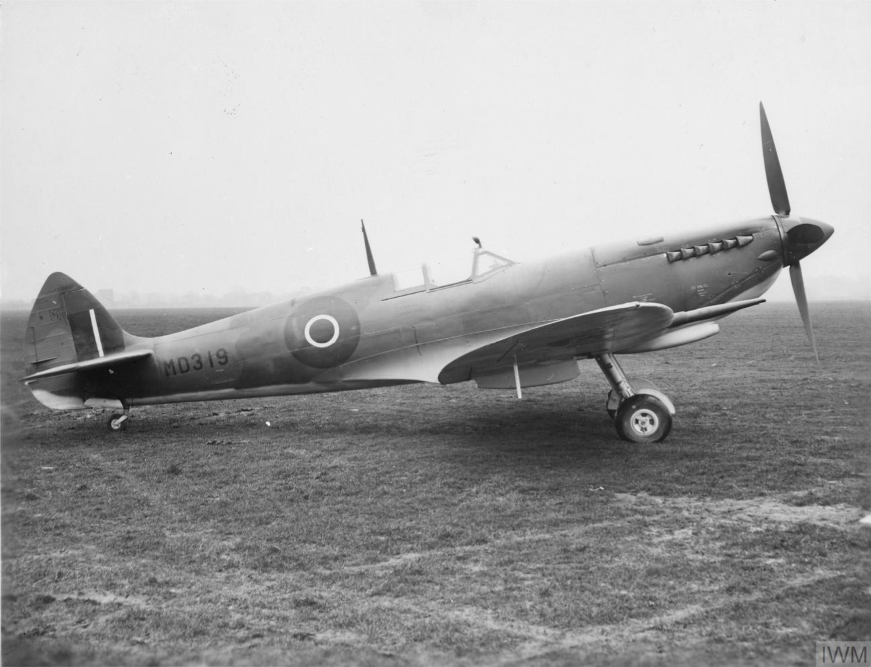Spitfire F8 Prototype MD319 side profile view England IWM MH5233