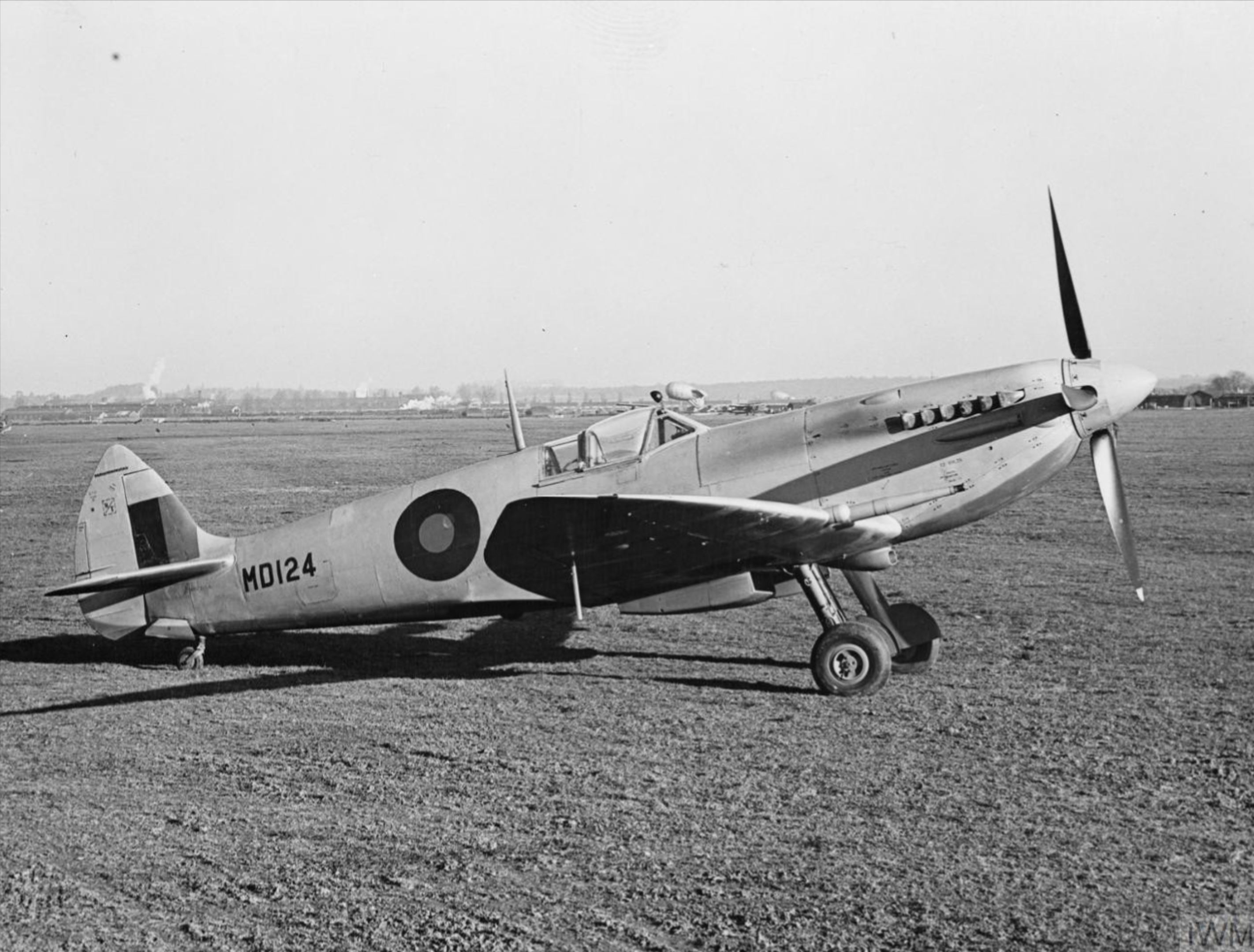 Spitfire HF7 Prototype MD124 side profile view England IWM HU1672