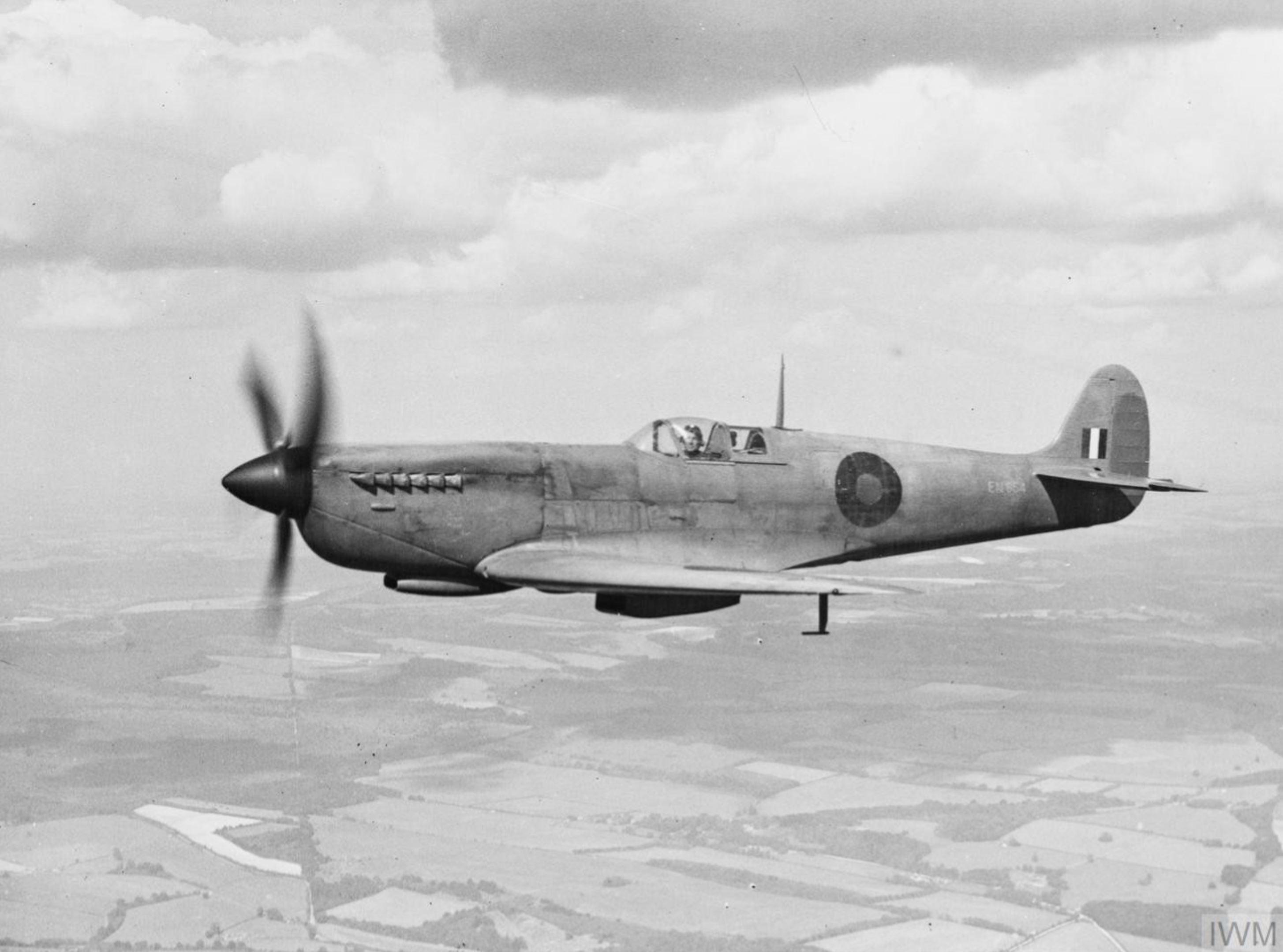 Spitfire PR11 Prototype EN654high speed reconnaissance variant in flight England IWM HU1678
